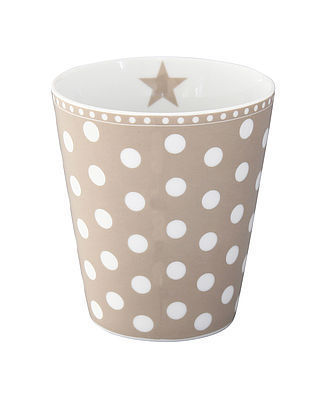 "Happy Mug ""New dot"" in taupe"