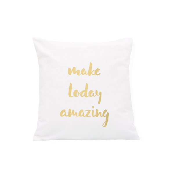 "Kissenbezug ""make today amazing"" in gold"