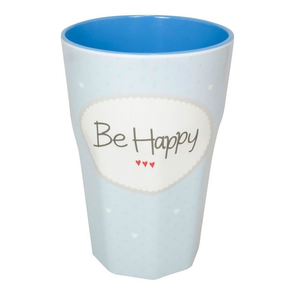 "Melamin Becher ""Be Happy"" blau"