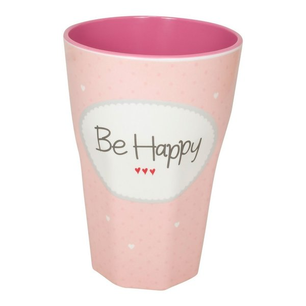 "Melamin Becher ""Be Happy"" rosa"