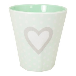 "Melamin Becher ""Herz"" in mint"