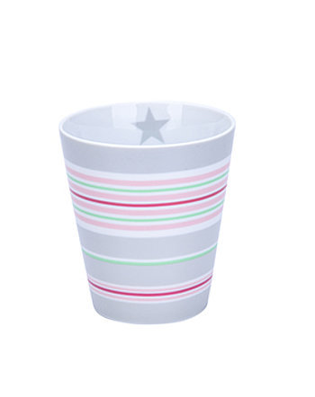 "Happy Mug ""Multi stripes"" grau"